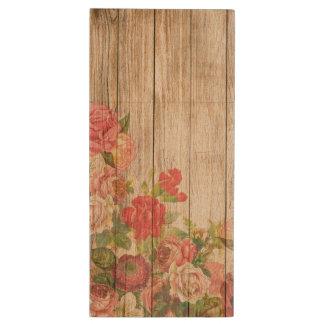 Vintage Rustic Romantic Roses Wood Wood USB 3.0 Flash Drive