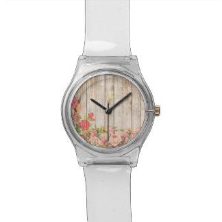 Vintage Rustic Romantic Roses Wood Wrist Watches