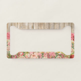Vintage Rustic Romantic Roses Wooden Plank License Plate Frame