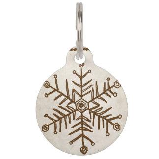 Vintage Rustic Snowflake Pet Tag