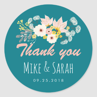Vintage Rustic Spring Flower Wedding Favor Sticker