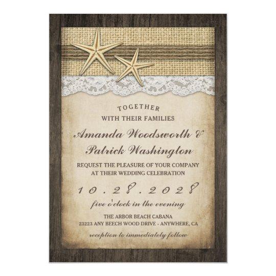 Vintage Rustic Starfish Beach Wedding Invitations