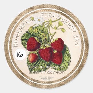 Vintage Rustic Strawberry Jam custom Sticker Label