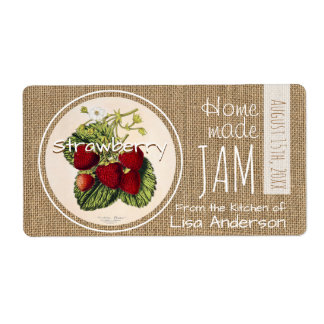 Vintage Rustic Strawberry Jam personalized H Label Shipping Label