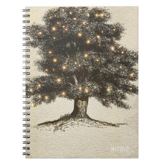 Vintage Rustic Tree & Lights Custom Wedding Spiral Notebooks
