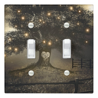Vintage Rustic Tree & Night Lights Country Chic Light Switch Cover
