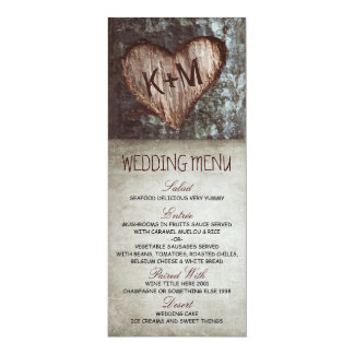 "Vintage rustic tree wedding menu cards 4"" x 9.25"" invitation card"
