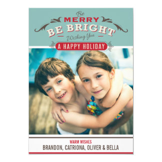 Vintage Rustic Typography Holiday Photo Card
