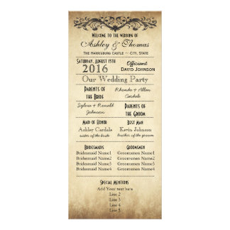 Vintage Rustic Typography Wedding Programs Full Color Rack Card