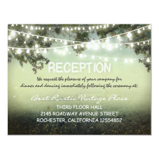 """vintage rustic wedding reception cards with lights 4.25"""" x 5.5"""" invitation card"""