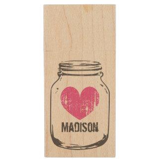 Vintage rustic wooden mason jar USB drive stick Wood USB 2.0 Flash Drive
