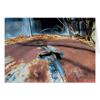 Vintage Rusty Hood Ornament Card