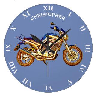 Vintage Rusty Motorcycle Drawing Large Clock
