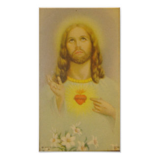 Vintage Sacred Heart of Jesus Christ Poster