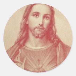 Vintage Sacred Heart of Jesus Round Sticker