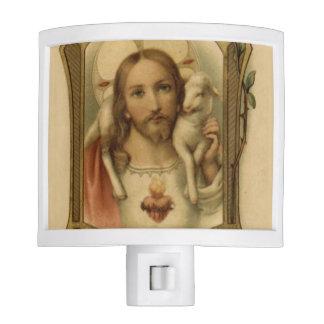 Vintage Sacred Heart of Jesus with Lamb Nite Light