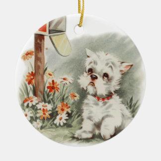 Vintage Sad Puppy Waits for a Letter Dog Ornament