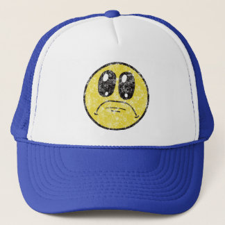 Vintage Sad Smiley Face Cartoon cap