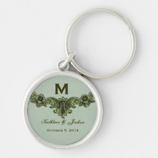Vintage Sage Green Background Monogram Wedding Keychain