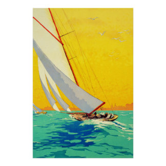 Vintage Sail Boats French Travel Poster