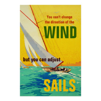 Vintage Sail Boats Painting Quote Direction Print