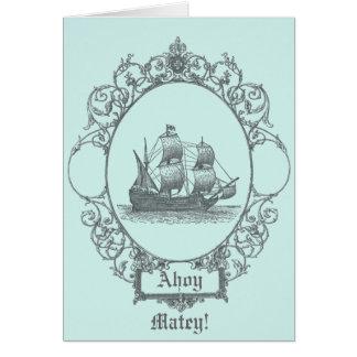 vintage sailboat Boy Pirate Birthday Party Card
