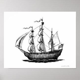 Vintage sailing ship ink pen drawing art poster