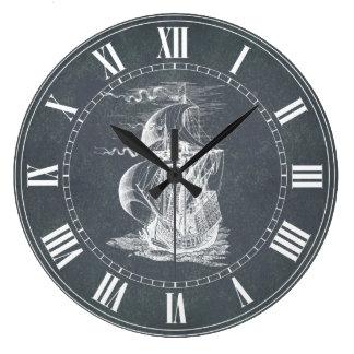 Vintage Sailing Ship Large Clock