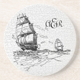 Vintage Sailing Ships Personalized Crackled Coasters
