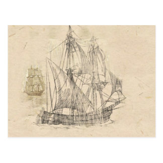 vintage sailing ships postcard