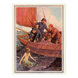 Vintage Sailors Mermaid Catch Postcard