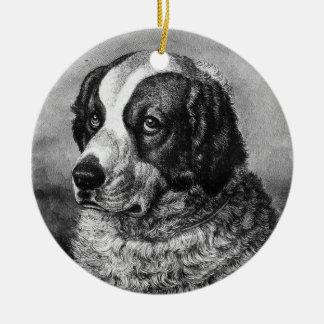 Vintage Saint Bernard Dog art Ceramic Ornament