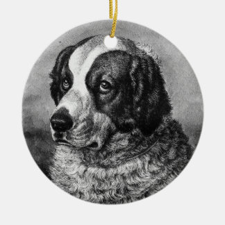 Vintage Saint Bernard Dog art Round Ceramic Ornament
