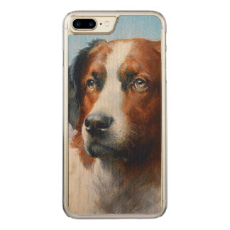 Vintage Saint Bernard Dog Carved iPhone 8 Plus/7 Plus Case