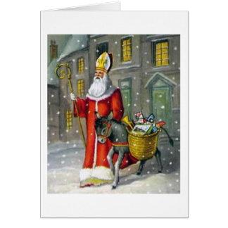 Vintage Saint Nicholas and Donkey Greeting Card