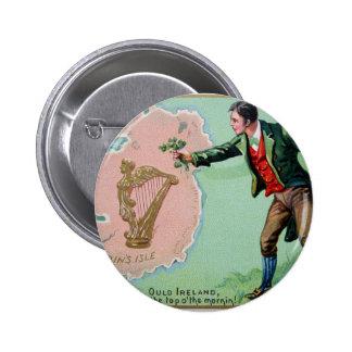 Vintage Saint Patrick's day erin's isle poster 2 Inch Round Button