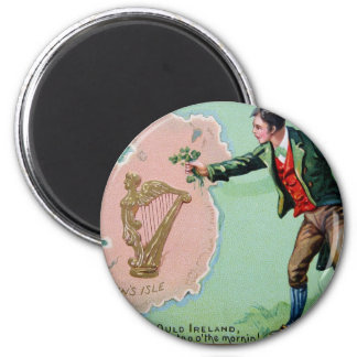 Vintage Saint Patrick's day erin's isle poster 2 Inch Round Magnet