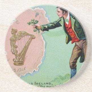 Vintage Saint Patrick's day erin's isle poster Beverage Coaster