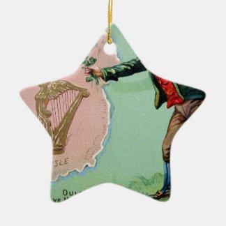 Vintage Saint Patrick's day erin's isle poster Ceramic Ornament