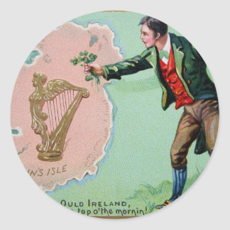 Vintage Saint Patrick's day erin's isle poster Classic Round Sticker