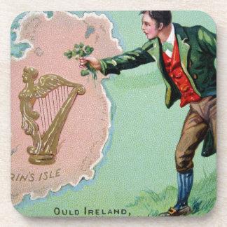 Vintage Saint Patrick's day erin's isle poster Drink Coaster