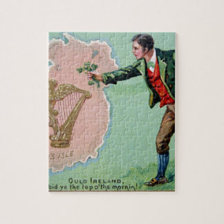 Vintage Saint Patrick's day erin's isle poster Jigsaw Puzzle