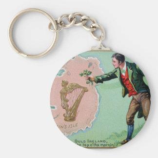 Vintage Saint Patrick's day erin's isle poster Keychain