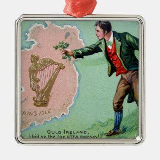 Vintage Saint Patrick's day erin's isle poster Metal Ornament