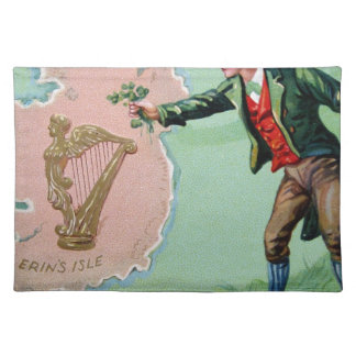 Vintage Saint Patrick's day erin's isle poster Placemat