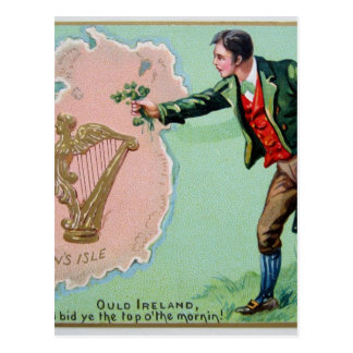 Vintage Saint Patrick's day erin's isle poster Postcard