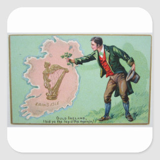 Vintage Saint Patrick's day erin's isle poster Square Sticker