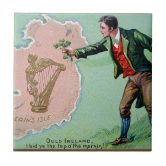 Vintage Saint Patrick's day erin's isle poster Tile