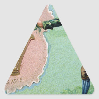 Vintage Saint Patrick's day erin's isle poster Triangle Sticker