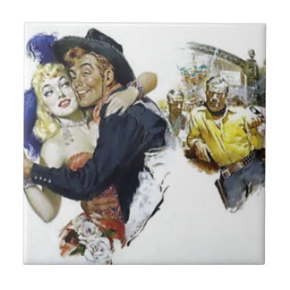 Vintage Saloon Girl Cowboy Bar Dance Fun poster Tile